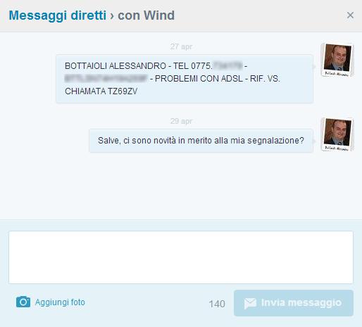 Messaggi DM con @WindItalia